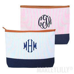 Monogrammed Seersucker Cosmetic Bag