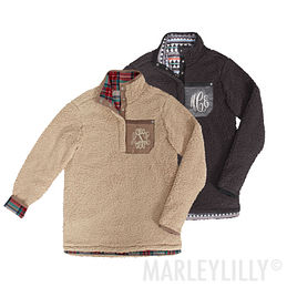 Monogrammed Reversible Sherpa Pullover