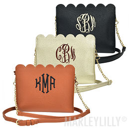 Monogrammed Scalloped Crossbody Bag