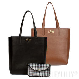 Monogrammed Leather Tote Bag