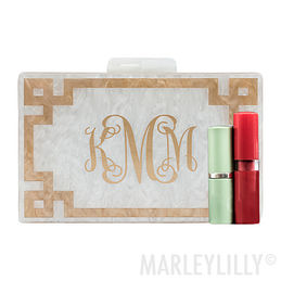 Monogrammed Inlay Box Clutch