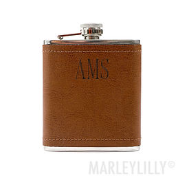 Personalized Leather Wrapped Flask
