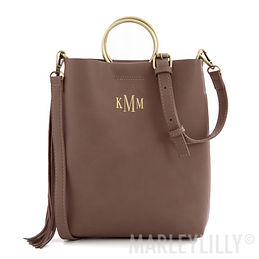 Monogrammed Ring Handle Tote Purse