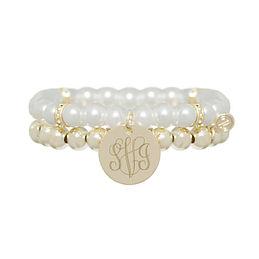 Monogrammed Pearl Bracelet Stack