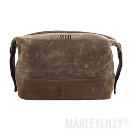 Personalized Waxed Canvas Dopp Kit