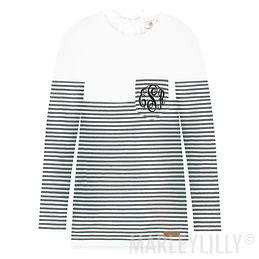 Monogrammed Striped Sweater Tunic