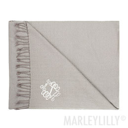 Monogrammed Tassel Throw