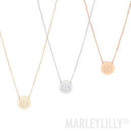 Monogrammed Delicate Disc Necklace