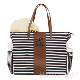 Monogrammed Striped Diaper Bag