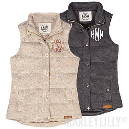 Monogrammed Heathered Quilted Vest