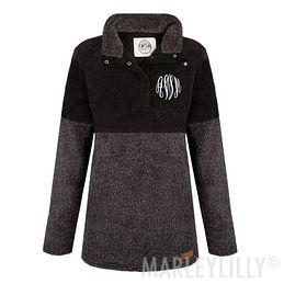 Monogrammed Colorblock Sherpa Pullover