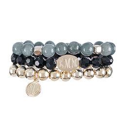 Monogrammed Beaded Bracelet Stack