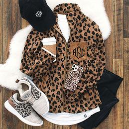 leopard fleece leopard monogram jacket leopard fleece jacket Monogram fleece pullover