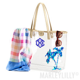 Beach Bag Personalized Tote Monogrammed Bag Mint Clear Tote