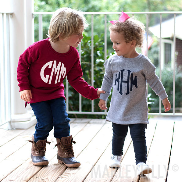 burgundy monogrammed youth crewneck sweatshirt in large
