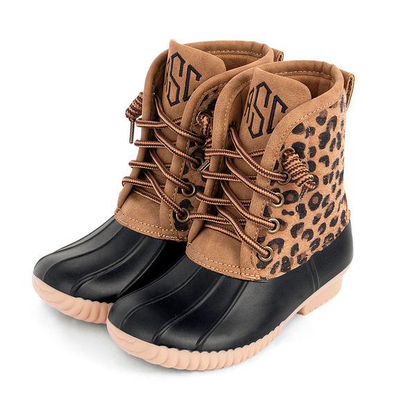 Kids Leopard Print Duck Boots