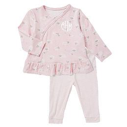 Monogrammed Baby Ruffle Kimono Set