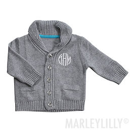 Monogrammed Baby Shawl Collar Cardigan