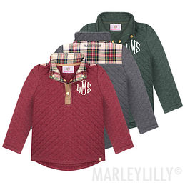 Monogrammed Kids Quilted Pullover Tunic