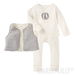 Monogrammed Baby Foiled Star 3-Piece Set