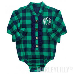 Monogrammed Baby Buffalo Plaid Ruffled Bodysuit