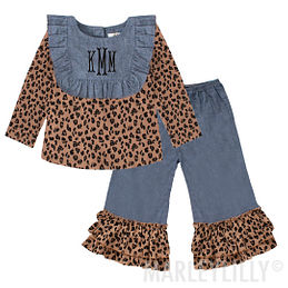 Custom monogrammed ruffle pant