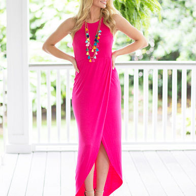 Night Mode Maxi Dress in Pink