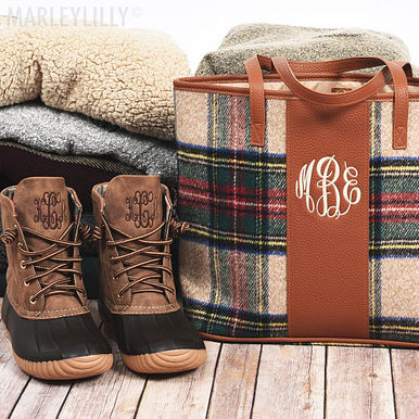 Duck Boots + Plaid Tote
