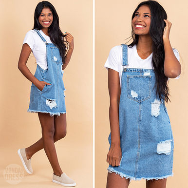 Sunkissed Summer Distressed Overall Dress