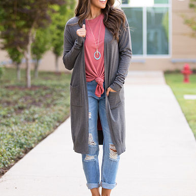 High Class Cardigan in Charcoal