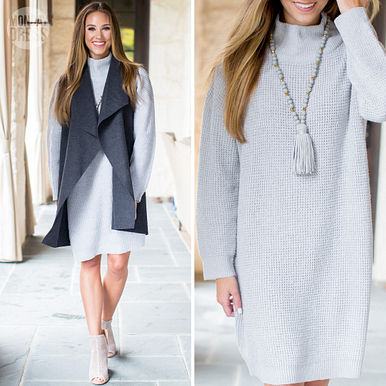 Sparrow Sweater Dress in Grey and Harbor Sleeveless Vest in Charcoal
