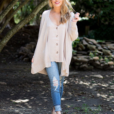 Chill In The Air Cardigan in Taupe