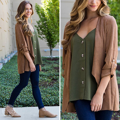 Stop Time Suede Jacket & Into The Sun Tank in Olive