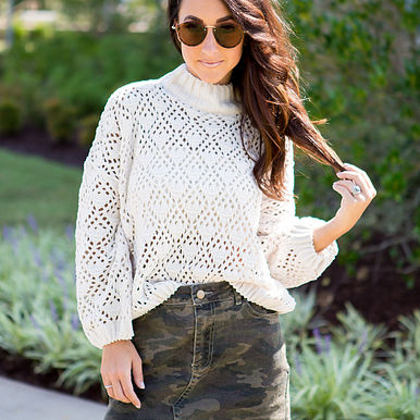 Pretty Story Sweater & Backwoods Denim Skirt