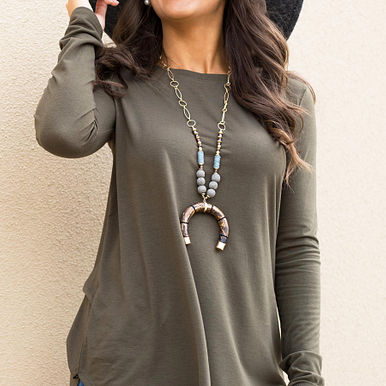 Back To The Basics Top in Olive